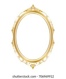 Oval frame and borders Golden frame on white background, Thai pattern, vector illustration