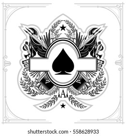Oval frame in the center of vintage weapon and military elements inside of ace of spades form. Military design playing card element black on white