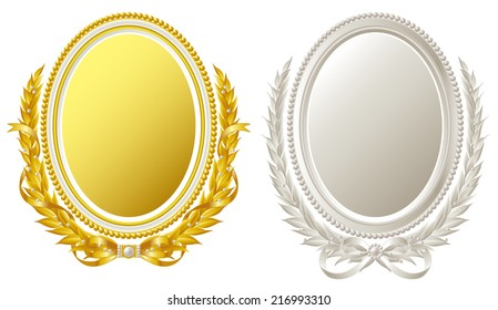 Oval frame of gold and silver