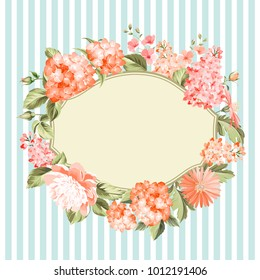 Oval frame invitation card with an orange garden blooming flowers. Invitation card template with blooming hydrangea and custom text place over them. Flower composition. Vector illustration.