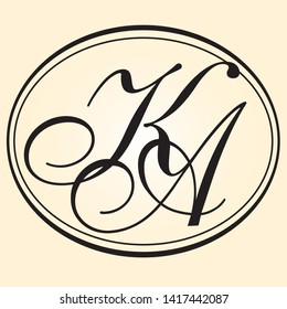Oval frame and monogram KA