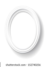 Oval frame is on white background.
