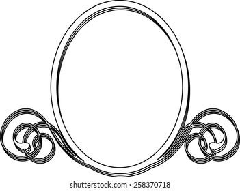 Oval frame  on white background. Vector illustration.