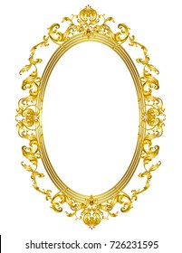 oval golden mirror frame