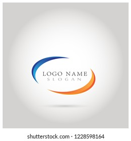 Oval Graphic Logo. Symbol & Icon Vector Template.