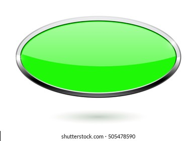 Oval green button with chrome frame. Vector illustration isolated on white background