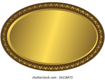 Oval metal volumetric plate with vintage an ornament on edges (vector)