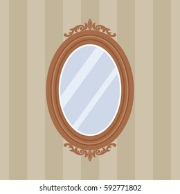 Oval Mirror Carved Wooden Frame Flat Stock Vector Royalty Free