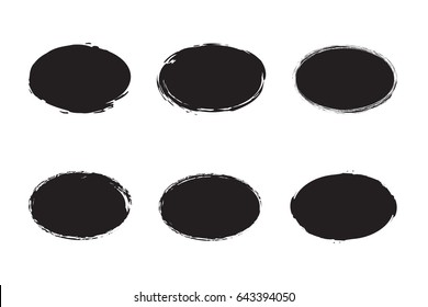 Oval Object  with Grunge Style for Design Use.Set of Brush Strokes Ovals of Paint for Banner Vector Illustration.