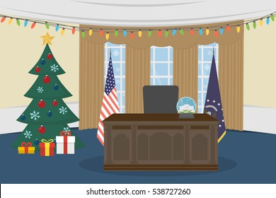 Oval Office in the White House with christmas tree.