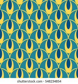 Oval pattern blue and yellow