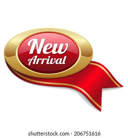 Oval red new arrival badge with ribbon on white background