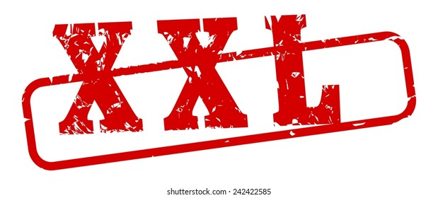 Oval red stamp with the word XXL - illustration