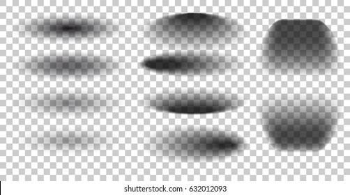 Oval shadow transparent with soft edges. set shadows isolated on checkered background.