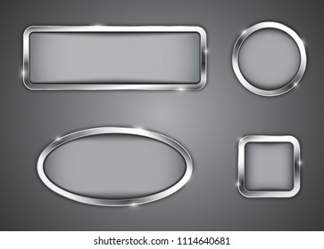 Oval, square, circle, rectangle shapes. Shiny buttons. Vector illustration
