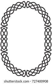 Oval vertical Celtic frame. Black isolated vector illustration on white background.