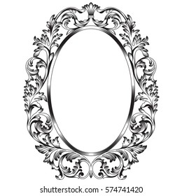 Oval vintage border frame engraving with retro ornament pattern in antique baroque style decorative design. Vector.