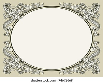 Oval vintage floral decorated bookish frame