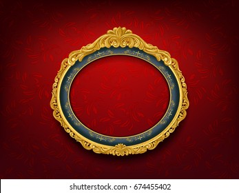 oval vintage frame on red wall