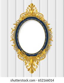 oval vintage frame on white wall