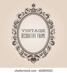 Oval vintage ornate border frame with retro pattern, victorian and baroque style decorative design. Simple and elegant oval frame shape with swirls for labels, logo and pictures. Vector illustration.