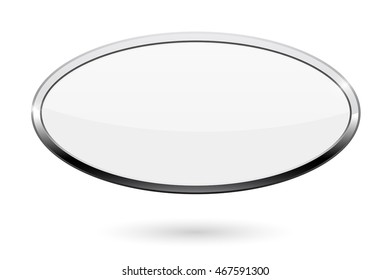 Oval white button. Web icon with chrome frame. Vector illustration isolated on white background