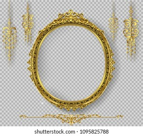 Oval Wooden frame of Gold photo frame with corner line floral for picture, Vector border design decoration pattern style. Thai art golden metal beautiful.