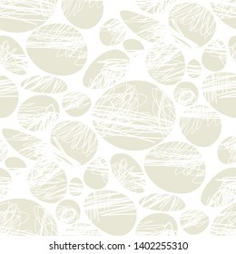 Ovals and ellipses with scribbles seamless pattern