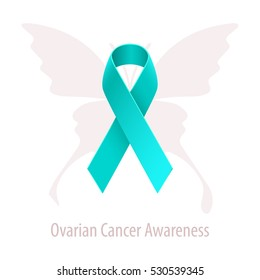 Ovarian Cancer Awareness Teal Ribbon over butterfly silhouette isolated on white background