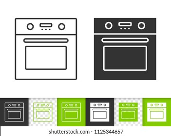 Oven black linear and silhouette icons. Thin line sign of stove. Kitchen ware outline pictogram isolated on white, color, transparent background. Vector Icon shape. Oven mitt simple symbol closeup