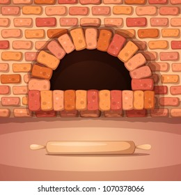 Oven, bonfire, stove, bakery rolling pin - cartoon illustration Vector eps 10
