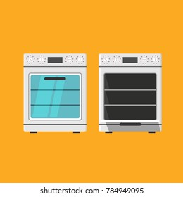 Oven closed and opened icon isolated on orange background. vector illustration