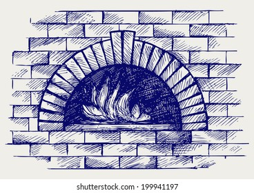 Oven for cooking. Doodle style