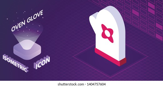 Oven glove isometric icon. Vector illustration. 3d concept