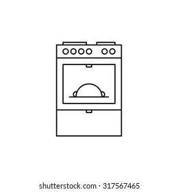 Oven icon outline on white