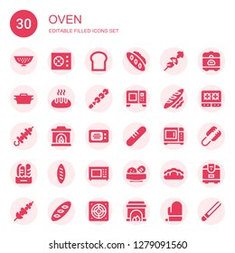 oven icon set. Collection of 30 filled oven icons included Colander, Cooker, Bread, Skewer, Dutch oven, Microwave, Fireplace, Rice cooker, Stove, Tongs, Extractor, Mitt
