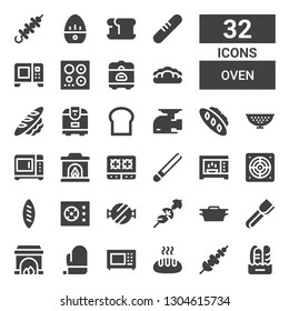 oven icon set. Collection of 32 filled oven icons included Bread, Skewer, Microwave, Mitt, Fireplace, Tongs, Dutch oven, Barbecue grill, Cooker, Extractor, Stove, Colander, Meat grinder