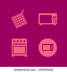oven icon. oven vector icons set gas stove, microwave and oven mitts