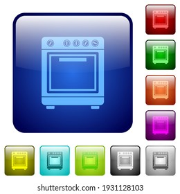 Oven icons in rounded square color glossy button set