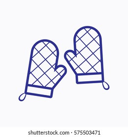 Oven Mitt Icon. Flat Isolated. Graphic Vector Symbol Outline Style. Use for App, Web, Mobile and Everything