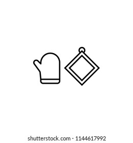 oven mitt simple line icon