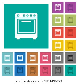 Oven multi colored flat icons on plain square backgrounds. Included white and darker icon variations for hover or active effects.