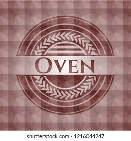 Oven red seamless emblem or badge with geometric pattern background.