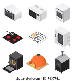 Oven stove furnace bakery cooker icons set. Isometric illustration of 16 oven stove furnace bakery cooker vector icons for web