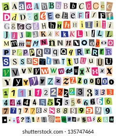 Over 200 vector cut newspaper and magazine letters, numbers, & symbols. Mixed uppercase and lowercase-multiple options for each one. Perfect design elements for a ransom note, creative typography, etc