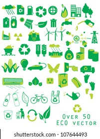 over 50 ECO vector Green Energy Icon Set depicting energy and energy use  ecology icons