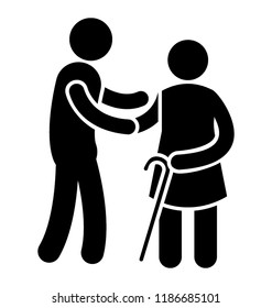 An over aged person is getting senior care from young boy who is holding her arm
