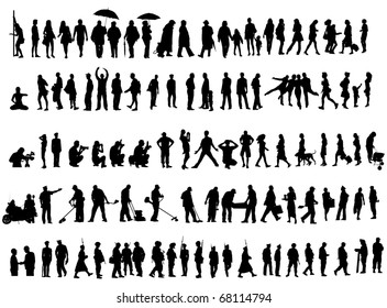 Over one hundred people vector silhouettes over white background. Ladies, gentleman, soldiers, females and workers.