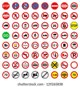 Over sixty different highly detailed and fully editable vector Traffic-Road Sign Collection. Set 3