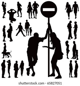 Over ten black silhouettes of young couples over white background. Talking, standing, arguing,walking.